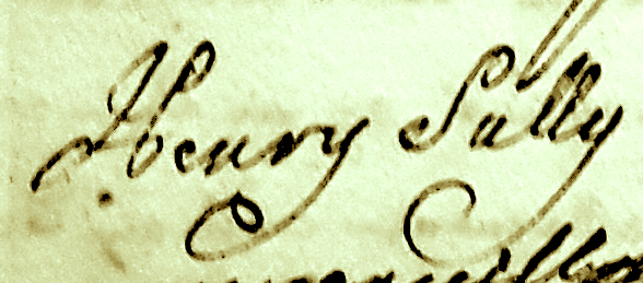 Henry Sully Signature on Legal Document July 1722